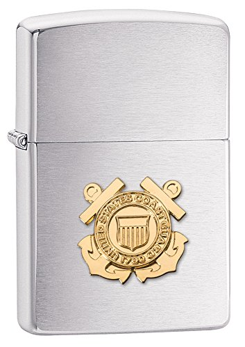 Zippo United States Coast Guard Emblem Pocket Lighter, Brushed Chrome