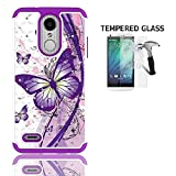 LG Rebel 4 Case, AT&T Prepaid LG Phoenix 4 Case, Phone Case for Straight Talk LG Rebel 4 Prepaid Smartphone, Studded Rhinestone Crystal Cover Case (White-Purple Butterfly + Tempered Glass)