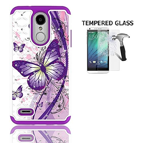 (LG Rebel 4 Case, AT&T Prepaid LG Phoenix 4 Case, Phone Case for Straight Talk LG Rebel 4 Prepaid Smartphone, Studded Rhinestone Crystal Cover Case (White-Purple Butterfly + Tempered Glass))