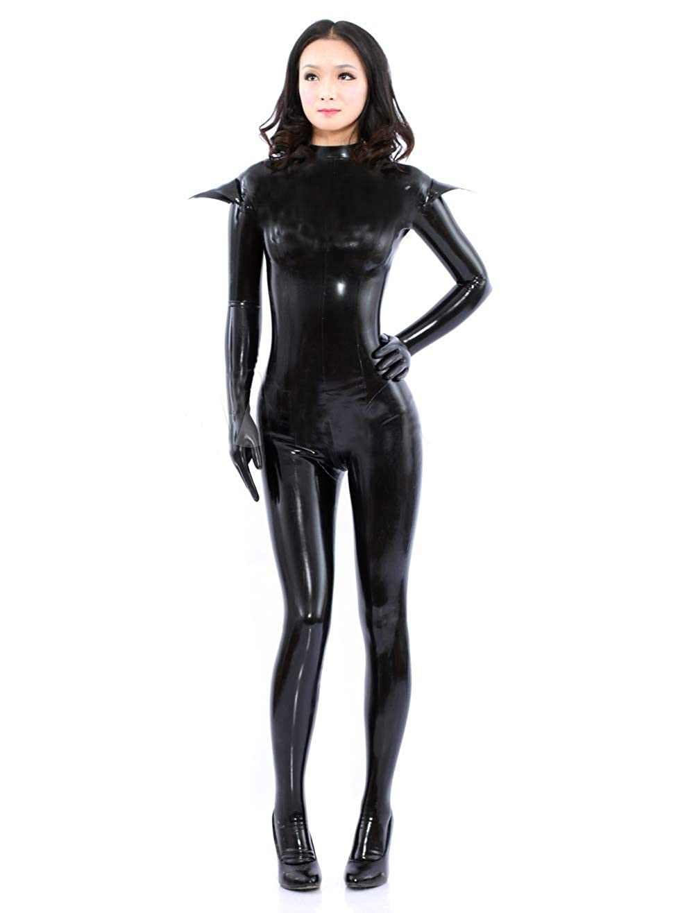 d5750cf8d98 Amazon.com  FASHION QUEEN Women s Sexy Black Bodycon Bodysuit Sexy  Halloween Catsuit with Gloves and Stocking  Clothing