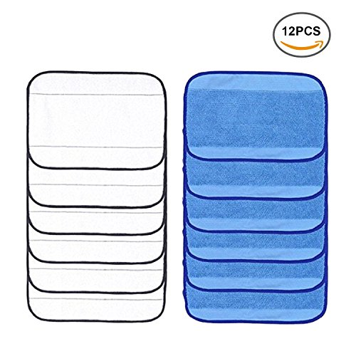 Camande Mixed Microfiber Mopping Cloths Washable&Reusable Mop Pads for iRobot Braava 380 380t 320 321 4200 4205 5200 5200C ( 6 Wet & 6 Dry )