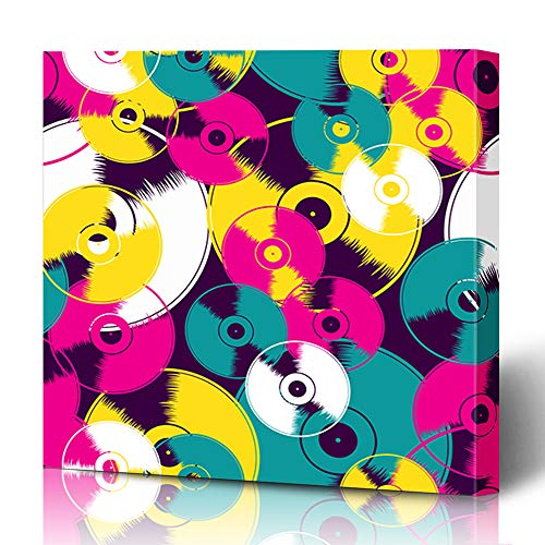 Ahawoso Canvas Prints Wall Art 12x12 Inches Disc Music Vinyl Record Pattern Vintage Gramophone Disco Retro Circle Label Single Design Decor for Living Room Office Bedroom