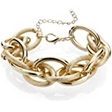 Silvity Damen Kunststoff Armband Statement Glieder Armband Damen Ankerketten-Armbandn Farbe: Gold 18 x 2 cm 880902-20