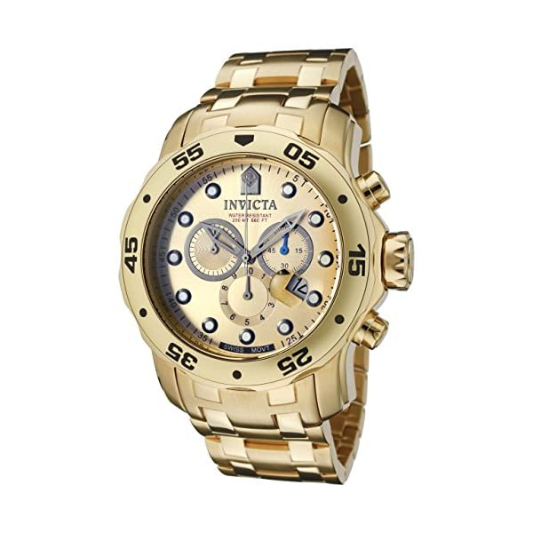 Invicta-Mens-0074-pro-Diver-Analog-Swiss-Quartz-18k-Gold-plated-Stainless-Steel-Watch