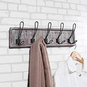 MyGift Distressed Torched Wood 5 Hook Wall Mounted Coat Rack