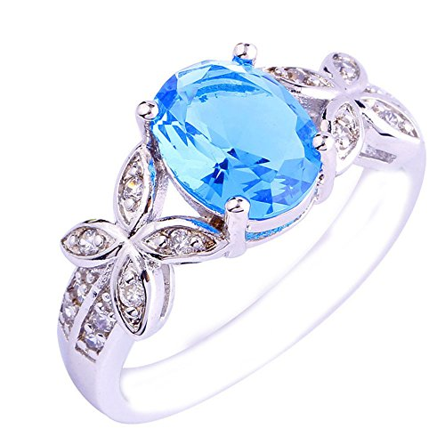 Empsoul Women 925 Sterling Silver Natural Fancy Filled 5-Stone Blue Topaz Flower Symbol Engagement Proposal Ring