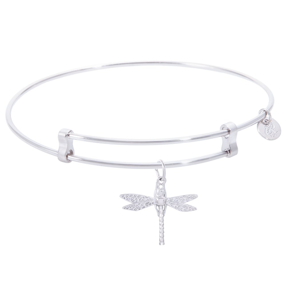 Rembrandt Dragonfly Charm Expandable Wire 'Confident' Bangle, Sterling Silver