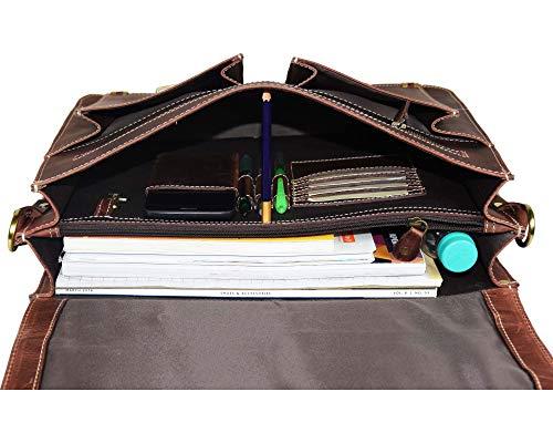 16'' Leather Briefcase Messenger Bag for Laptop by Aaron Leather (Walnut) by AARON LEATHER GOODS VENDIMIA ESTILO (Image #2)