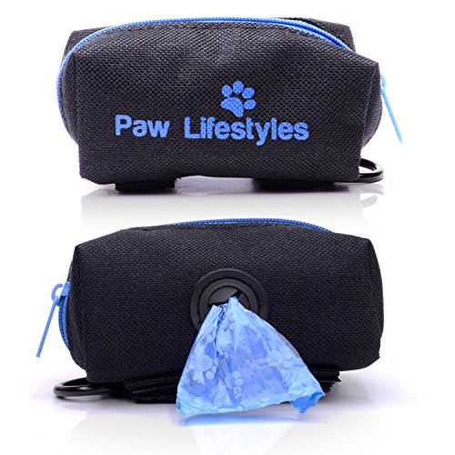 (Paw Lifestyles Dog Poop Bag Holder Leash Attachment - Fits Any Dog Leash - Includes Free Roll of Dog Bags – Poop Bag Dispenser)