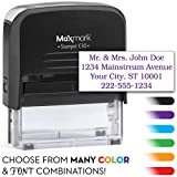 MaxMark Four Line Self Inking Stamp - 3/4' x 1-7/8' - Customize Online, Many Font and Color Choices