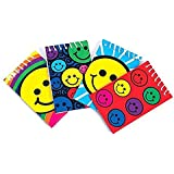 Bulk Pack of Spiral Smiley Notepads; 12 Happy Face Notebooks in assorted colors with lined sheets by Neliblu
