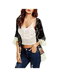 Women Coat,Coromose Young Girls Floral Summer Beach Tassel Kimono Cover-up Cardigan
