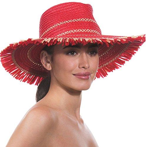 Eric Javits Luxury Fashion Designer Women's Headwear Hat - Havana - Red Mix by Eric Javits