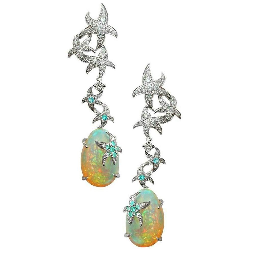 Dds5391 Shining Women Fashion Starfish Faux Opal Drop Dangle Stud Earrings Wedding Jewelry Gift - Silver