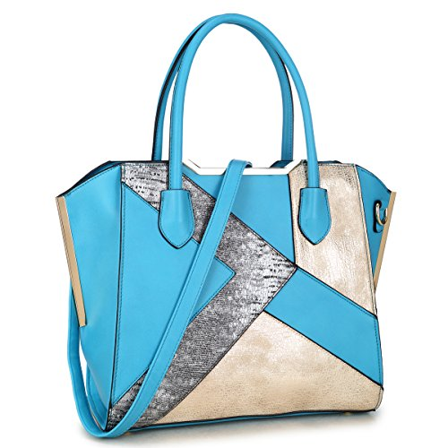 Dasein Women Snake Skin Handbags Vegan Leather Totes Patchwork Satchel Top-handle Bags with Long Shoulder Strap (6282-turquoise)