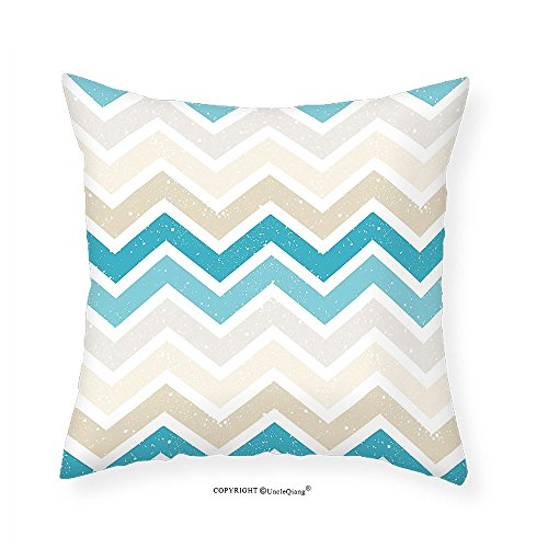 VROSELV Custom Cotton Linen Pillowcase Aqua Grunge Zig Zag Borders Chevron Geometrical Details for Bedroom Living Room Dorm Beige Cocoa Pink Turquoise and Blue (Cocoa Cotton Border)