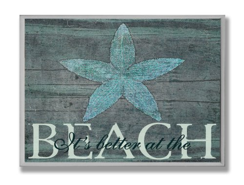 (The Stupell Home Décor Collection It's Better At The Beach Starfish Rectangle Wall Plaque, 10 x 0.5 x 15, Proudly Made in USA - cwp-111)