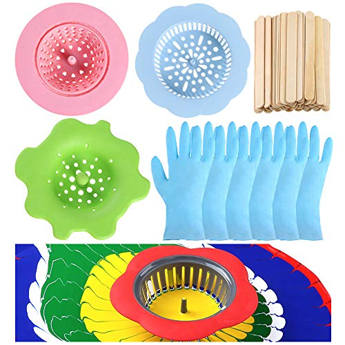 Auihiay 64 Pieces Acrylic Paint Pouring Supplies Kit Include 4 Pieces Acrylic Pouring Strainers, 50 Pieces Mixing Sticks and 10 Pieces Vinyl Gloves for Paint Pouring