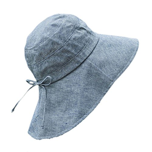 Foldable Sunhat Wide Brim Summer Flap Cover Cap with Neck Cover Cord for Women (Denim blue) ()