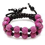Dazzlingrock Collection Beaded Crystal Bracelet Pave Unisex Hip Hop Seven Hot Pink Disco Ball 12mm Bead 2 Row Unisex Adjustable