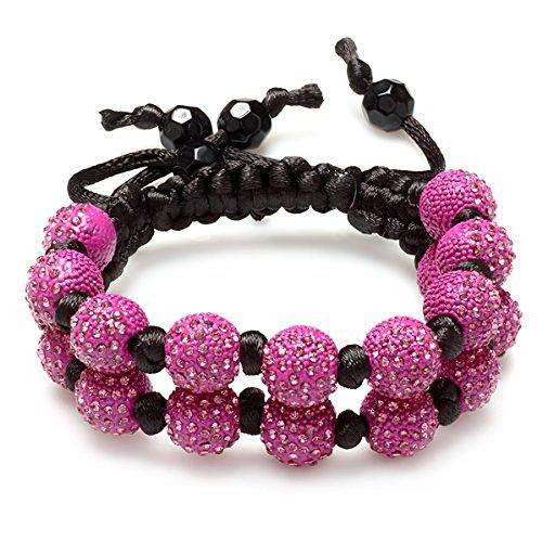 Dazzlingrock Collection Beaded Crystal Bracelet Pave Unisex Hip Hop Seven Hot Pink Disco Ball 12mm Bead 2 Row Unisex Adjustable by Dazzlingrock Collection