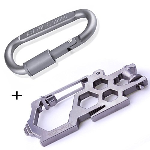 (Carabiner Multitool Keychain, Survival Pulley Carbon Steel + 1 Aluminum D-ring Locking Cara Para Biner Set, Small Key Bracelet Jewelry Add On Multi Tool for Backpacking Clothing Outdoor Camping Hiking.)