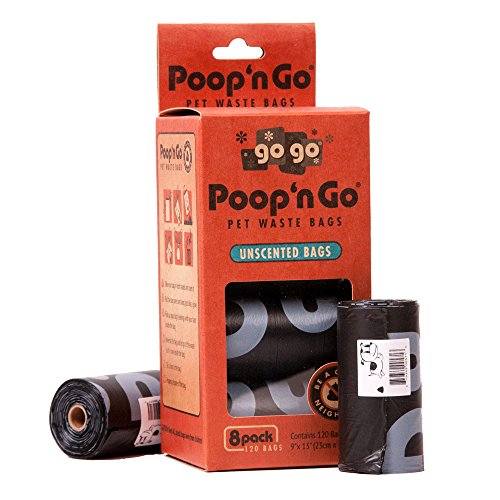 GoGo Pet Products Poop 'n Go Waste Bags (8 Rolls/120 Bags Per Box), Unscented, Black, Large
