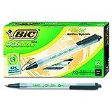 BIC Ecolutions Clic Stic Ball Pens Retractable, Black, Medium Point, Dozen Box