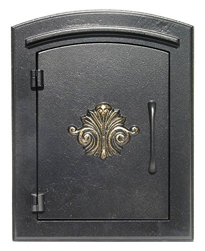QualArc MAN-1401BL Manchester Column Mount Mailbox with Decorative Scroll Door in (Column Insert Mailboxes)