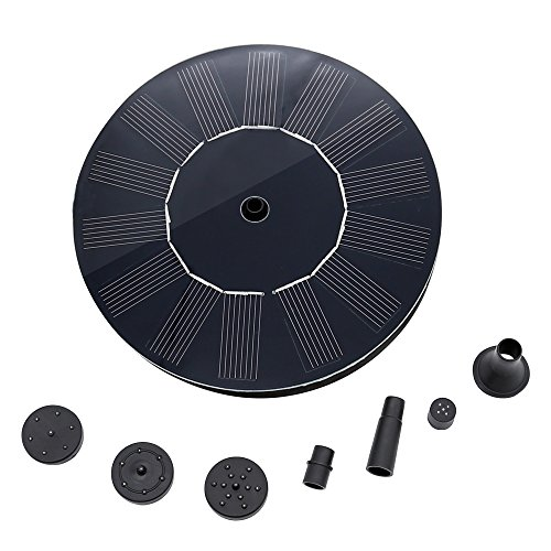 1.4W 40GPH Bird Bath Fountain Pump Kit with Free Standing Floating Design & Diversified Nozzle,Solar-powered Brushless DC Water Pump for Pond,Birdbath Fountain,Pool,Garden Reach Up 17.7inches(Circle)