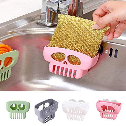 Halloween Clearance, Double Suction Cup Sink Sponge Holder Kitchen Bathroom Skull Drain Storage Rack (Pink) -