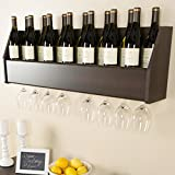 liquor cabinet for wall - Floating 18 Bottle Glass Holder Wall Mounted Wooden Wine Rack Bar Liquor Storage Cabinet