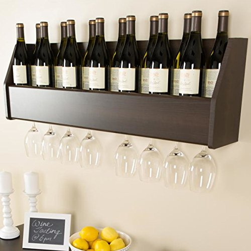 (Floating 18 Bottle Glass Holder Wall Mounted Wooden Wine Rack Bar Liquor Storage Cabinet)