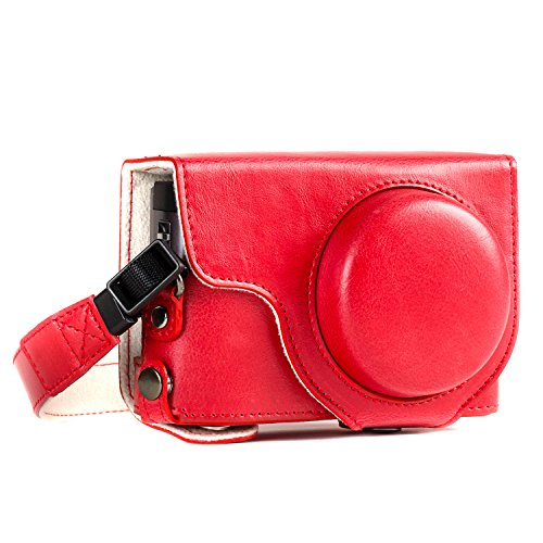 MegaGear MG1262 Ever Ready Leather Camera Case compatible with Panasonic Lumix DC-ZS80, DC-ZS70, DC-TZ95, DC-TZ90 - Red