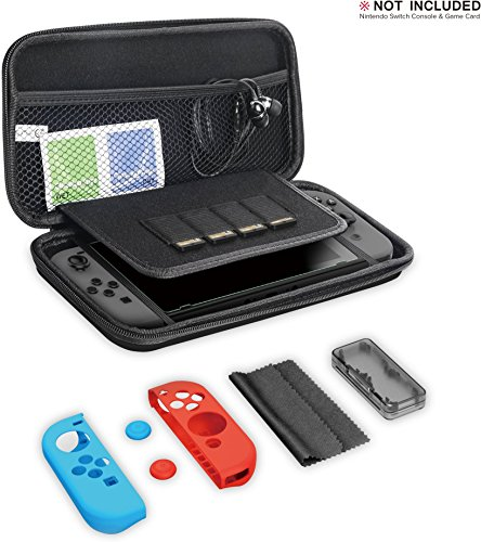GameWill Switch Carrying Case including Stereo Earbuds, Anti-Blue Light Tempered Glass Screen Protector and Silicone Joy-Con Controller Covers for Switch Console & Accessories - Daily Bud Earbuds