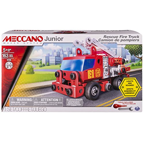 Erector Fire Truck - Meccano Junior - Rescue Fire Truck with Lights and Sounds Model Building Set, 163 Pieces, For Ages 5+, STEM Construction Education Toy