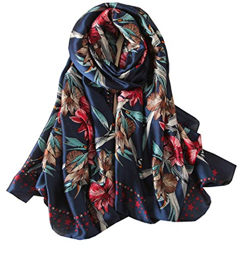 Long Extra Scarf - FM Womens Mulberry Silk Scarves Long Satin Lightweight Scarf For Women (N)