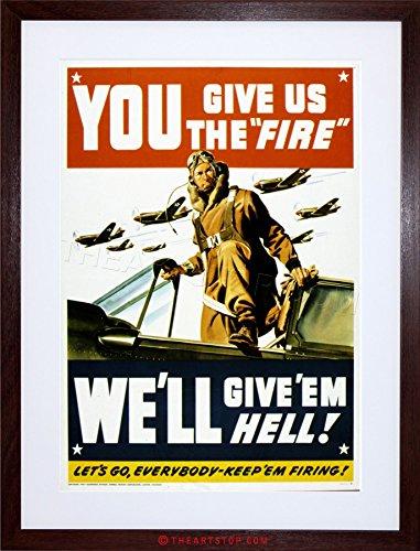 The Art Stop Vintage AD Propaganda WAR WWII USA Pilot Fighter Jet Framed Print F12X6136