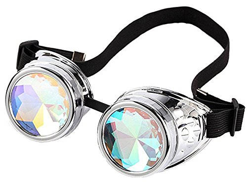 (Kaleidoscope Rave Goggles Steampunk Glasses with Rainbow Crystal Glass Lens)