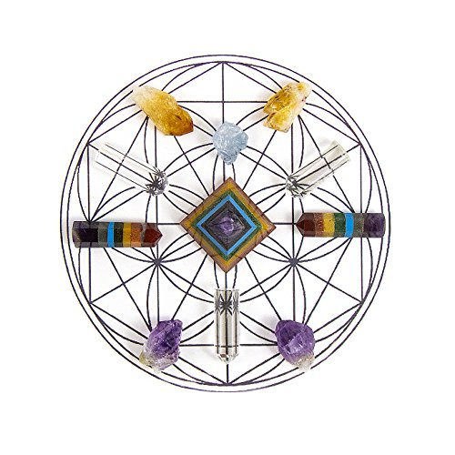 (ENERGY INFUSED Healing Crystals Grid - CHAKRA BALANCING Gemstone Gridding Set - Featuring Citrine, Amethyst, Blue Celestite, Clear Quartz, Red Jasper, Peach Aventurine, Green Aventurine, Turquoise)