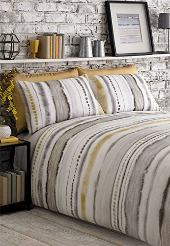 TIE DYED-STYLE GRADED STRIPES YELLOW GREY WHITE COTTON BLEND USA QUEEN SIZE (230CM X 220CM - UK KING SIZE) DUVET COMFORTER ()
