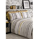 TIE DYED-STYLE GRADED STRIPES YELLOW GREY WHITE COTTON BLEND CANADIAN QUEEN SIZE (230CM X 220CM - UK KING SIZE) DUVET COMFORTER COVER