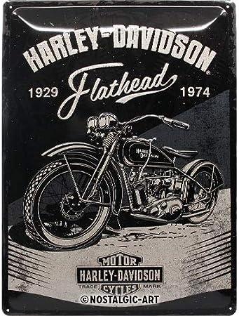 Nostalgic-Art Cartel de chapa retro Harley-Davidson – Flathead Black – Idea de regalo para los fans de las motos, metálico, Diseño vintage, 30 x 40 cm