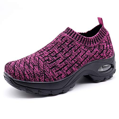 HKR Platform Shoes for Women Summer Breathable Slip On Athletic Sports Walking Jogging Sneakers Purple 10(ZJW1872zise43)