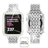 Ezzdo Replacement for Apple Watch Diamond Band, Rhinestone Luxury Diamond Stainless Steel Replacement Bands for Apple Watch 38mm 42mm Series 1/2/3 (Silver, 42mm)