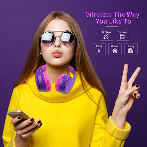 Lobkin Over Ear Headphones with Microphone, Stereo Hi-Fi Sound, FM Radio TF Foldable Portable Headsets for TV/Travel/Home/Office/Class/Business Wireless Headphones (Purple)