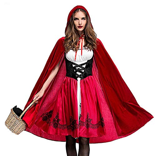 UONQD Women Halloween Costume Cosplay Ball Party Hooded Bandage Shawl Dress Suit (Large,Red ) -