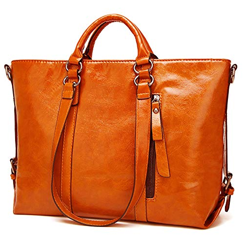 Orange Leather Handbag - 4