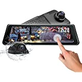 Newest Eonon 9.88 Inch Stream Media Dual Lens Mirror,1296P FHD Front and 720P AHD Rear View Camera Dash Cam, Touch Screen Camera Recorder, 140°Wide Angle Backup Camera, G-Sensor, LDWS, WDR--R0011