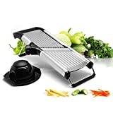 Vegetable and Fruit Mandolin Slicer | Stainless Steel Julienne Veggie Cutter | Professional Kitchen Slicing Tool with Adjustable Blades | Hand Guard